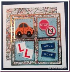 This card measures x and is made with a hand cut white linen effect card blank The background paper is taken from a road atlas g. Passed Driving Test, Card Factory, Test Card, Congratulations Card, Make A Gift, Card Sketches, Masculine Cards, Blank Cards, Kids Cards