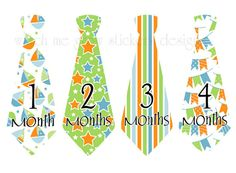 Precut Monthly Boy Tie Stickers Baby Month by WatchMeGrowStickers, $11.00