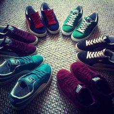#PUMA #suede #sneakers #green #blue #maroon #red $59.00