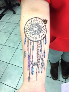 Colorful Dreamcatcher Tattoo http://tattoos-ideas.net/colorful-dreamcatcher-tattoo/