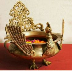 Majestic Brass Peacock Urli or Vessel For Floating Flowers and Candles, Urli Of L 23 cm x Dia 20 cm x Ht 26 cm, Home Decor, Traditional Urli