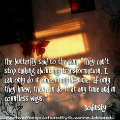 """The butterfly said to the sun, """"They can't stop talking about my transformation. I can only do it once in my lifetime. If only they knew, they can do it at any time and in countless ways."""" ~Dodinsky Lessons Learned In Life, Everything Changes, Stop Talking, Lord And Savior, Daily Inspiration Quotes, Some Words, Talk To Me, Self Help, Favorite Quotes"""