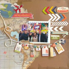 Travel theme: map paper, arrow and banner More #scrapbooklayouts