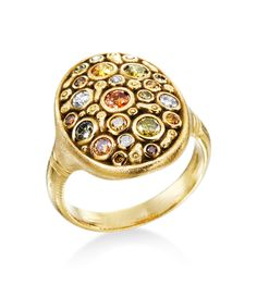 Alex Sepkus - Constellation Collection 18K Yellow Gold Multi-Colored Diamond Ring