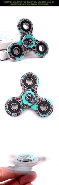 Fidget Toy Spinner with Top Quality Stainless Steel Bearings - High-Speed Tri Hand Spinners for Stress Relief, Relaxation, Improved Focus, Autism & ADHD - Built Stronger & Spins Longer (Green Skull) #tech #drone #racing #shopping #metal #products #fpv #spinner #gadgets #kit #camera #parts #skull #plans #technology