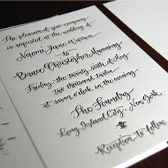 Handwritten Calligraphy Letterpress Invitation - or Digital Design for Print. $175.00, via Etsy.