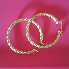 "Hoops 1 1/2"" x Brite gold not marked Jasmin Jewels  Jewelry"