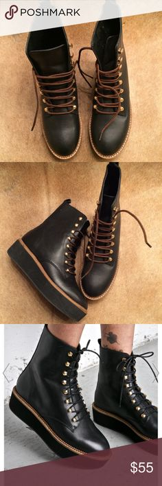 Shelly's London Oakwood High Top Boot These boots are beautiful! They have amazing detail that is sure to grab attention! The laces have been changed in order to give them extra pop! Add these to your collection today! Shellys London Shoes Lace Up Boots