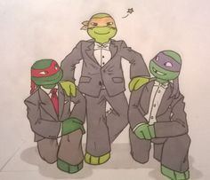 Raph, Mikey and Don being fancy by Suzukiwee1357.deviantart.com on @deviantART
