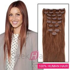 18 Inch 7pcs Straight Clip In Remy Human Hair Extensions (#33 Rich Copper Red)