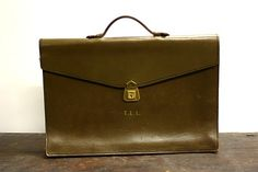 Vintage Leather Briefcase Olive Green