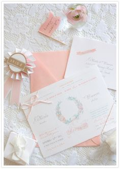 love the bride ribbon + 'happy wedding flag' too >> peach wedding invitations