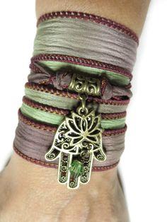 Silk Wrap Bracelet Lotus Yoga Jewelry Hamsa Buddhist by HVart