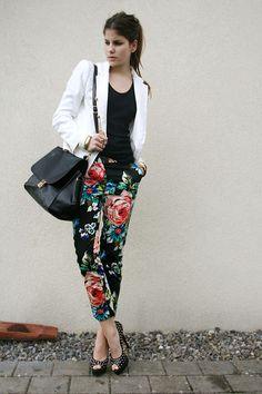 Black Studded Heels, Floral Pants