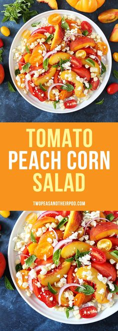 Tomato Peach Corn Salad only takes 10 minutes to make and goes great with any summer meal. It is beautiful to serve and delicious to eat!