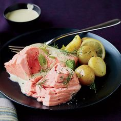 Poached Salmon with Minted Yogurt Sauce. Via F&W