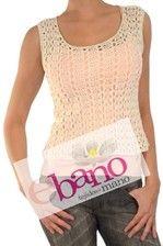 Musculosa tejida al crochet en hilo macramé de color hueso. Consultar colores disponibles.   (Crochet knit sleevless shirt in bone macrame thread. Check available colors.)