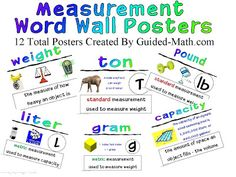 Word wall posters on terms related to mass/weight and volume.