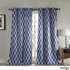 Duck River Donna Geometric Print Blackout Curtain Panel Pair (Indigo), Blue, Size 84 Inches