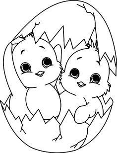 Baby Chick, : A Twin Baby Chick Coloring Page Make your world more colorful with free printable coloring pages from italks. Our free coloring pages for adults and kids. Spring Coloring Pages, Cute Coloring Pages, Coloring Easter Eggs, Animal Coloring Pages, Printable Coloring Pages, Coloring Pages For Kids, Coloring Books, Easter Coloring Pictures, Free Coloring
