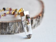 Quartz Necklace Gold Quartz Necklace Quartz Point by FawningInLove