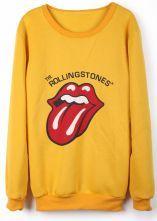 Yellow Long Sleeve Tongue Print Sweatshirt $28.23 #SheInside