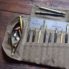 Waxed Canvas Tool Roll Sendak Artist Roll Leather Pencil accessories waxed canvas Sendak Waxed Canvas Artist Roll, 22 pockets + 1 zipper pouch, Pen and Pencil Case, Travel Accessory comes in 5 colorways by Peg and Awl Roll Up Pencil Case, Pencil Cases, Quilts Vintage, Watercolor Kit, Tool Roll, Crochet Amigurumi, Ideias Diy, Leather Projects, Waxed Canvas
