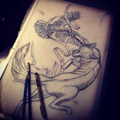 Fox and crow tattoo, tattoo sketch, done by Kati Zmenkowski, at Armature Tattoo co. Pittsburgh Pa.