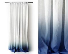 Ombre curtains Blue dip dye drape Rod pocket by LovelyHomeIdea