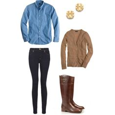 jean shirt and sweater for fall