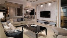 Luxury comfort and chic taste in interior Classic Living Room, Living Room Tv, Living Room Modern, Living Room Designs, Home And Living, Apartment Chic, Apartment Interior, Home Interior, Home And Deco