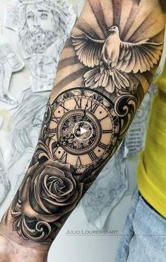 tattoo designs men forearm ~ tattoo designs & tattoo designs men & tattoo designs for women & tattoo designs unique & tattoo designs men forearm & tattoo designs men sleeve & tattoo designs men arm & tattoo designs drawings Forarm Tattoos, Forearm Sleeve Tattoos, Forearm Tattoo Design, Best Sleeve Tattoos, Tattoo Sleeve Designs, Tattoo Designs Men, Tattoos Masculinas, Dove Tattoo Design, Clock Tattoo Design