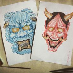 #sketch #watercolor #demons #japanesemask #japanese #mask #drawing #redandblue #komainu #hannya