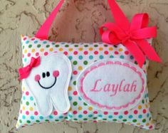 Tooth Fairy Pillow Polka Dots Aqua Personalized by Mimisartistree