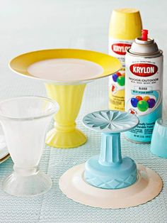 DIY Cake stand: cup, plate, spray paint and glue. Good way to use old dishes from a consignment store!