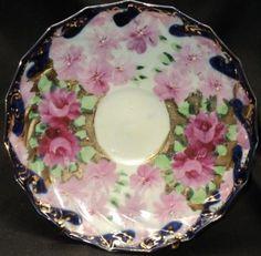 Image detail for -Royal Nippon ROSES COBALT GOLD TRANSLUCENT Tea cup and saucer