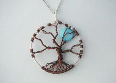 Tree of Life Pendant / Necklace  Blue Moon by FlutterbyKissis