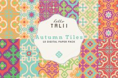 Autumn Tiles Digital Paper by Hello Talii on Creative Market