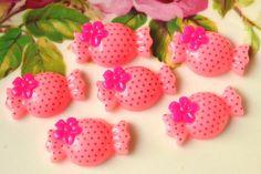 Resin Candy Cabochons 6 pcs Yummy Pink Sweet cabochon via Etsy