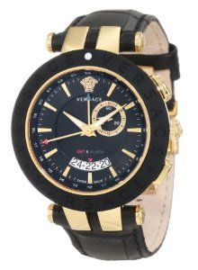 Versace Men's 29G7S9D009 S009 V-Race Gold Ion-Plated Black Dial Leather GMT-Watch Versace. $1490.00. Black pu bezel ring with versace logo engraved. Yellow gold ip stainless steel case. Water-resistant to 50 M (165 feet). Gmt; alarm feature; date window at 6h. Swiss quartz movement-isa 8176-1990