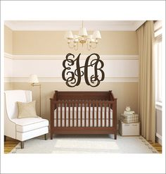 Vine Monogram Decal Vinyl Wall Decal Large by CustomVinylbyBridge, $29.00