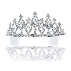 Bling Jewelry Grandeur Pear Shaped Bridal Headpiece Tiara ($47) ❤ liked on Polyvore featuring accessories, hair accessories, crowns, tiaras, crowns/tiara's, clear, tiara comb, rhinestone tiara, bridal tiara comb and rhinestone hair comb