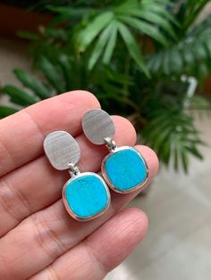 A gorgeous Turquoise pair for earrings in Sterling Silver with subtle texture, mat and bright finish Druzy Ring, Gemstone Rings, Fine Jewelry, Jewellery, Subtle Textures, Turquoise Earrings, Gemstone Colors, Jewelry Branding, Luxury Jewelry