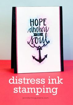 Distress Ink Bleed Technique Video by Jennifer McGuire Ink - ink with DI, spray once with water for a bit of bleed, then overstamp in black.