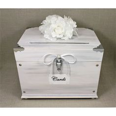 White Washed Wooden Wedding Card Box Trunk. Vintage Shabby Chic Wedding Decor. White, Gray, Silver. White Wedding. Wooden Money Box. Chic