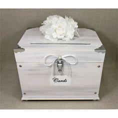 White Washed Wooden Wedding Card Box Trunk. Vintage Shabby Chic Wedding Decor. White, Gray, Silver. White Wedding. Wooden Money Box. Chic