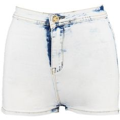 Boohoo Bea Acid Wash Denim Tube Shorts ($12) ❤ liked on Polyvore featuring shorts and acid wash denim shorts