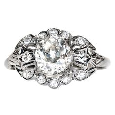 1.51 Carat Diamond Platinum Edwardian Engagement Ring | From a unique collection of vintage engagement rings at http://www.1stdibs.com/jewelry/rings/engagement-rings/