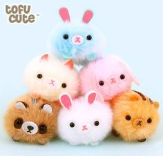 Kawaii plush stuffed toys - cuddly and furry friends Pocket Money Picks: Tofu Cute Kawaii Diy, Kawaii Cute, Cute Crafts, Crafts For Kids, Pom Pom Animals, Clay Animals, Pom Pom Crafts, Hamster, Cute Stuffed Animals