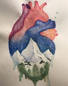 Anatomical heart and winter mountain landscape watercolor painting.